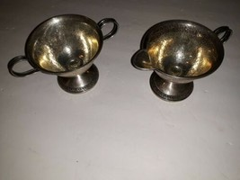 2 Vintage Sterling Silver Cement Loaded Reinforced Lot Sugar Creamer Tro... - $147.51