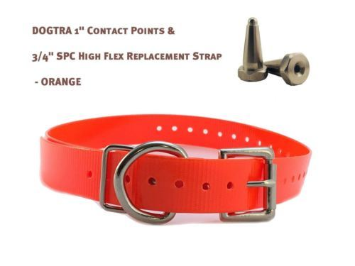 """DOGTRA 1"""" Contact Points & 3/4"""" SPC High Flex Replacement Strap - Neon Orange"""