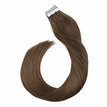 Ugeat 16 Inch Hair Extensions Tape in Human Hair #8 Light Brown Skin Weft Tape R