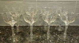 8 Libbey Rock Sharpe Normandy #3005 Champagne Sherbet Star of David Juda... - $68.60