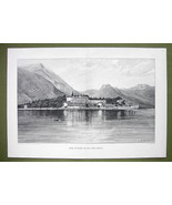 ITALY Lake Isola di Garda & Monastery - VICTORIAN Era Engraving Print 15... - $18.36