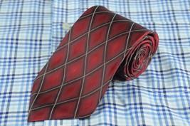 Van Heusen Men's Tie Red Diamond Geometric Silk Necktie 58 x 3.5 in. - $8.99