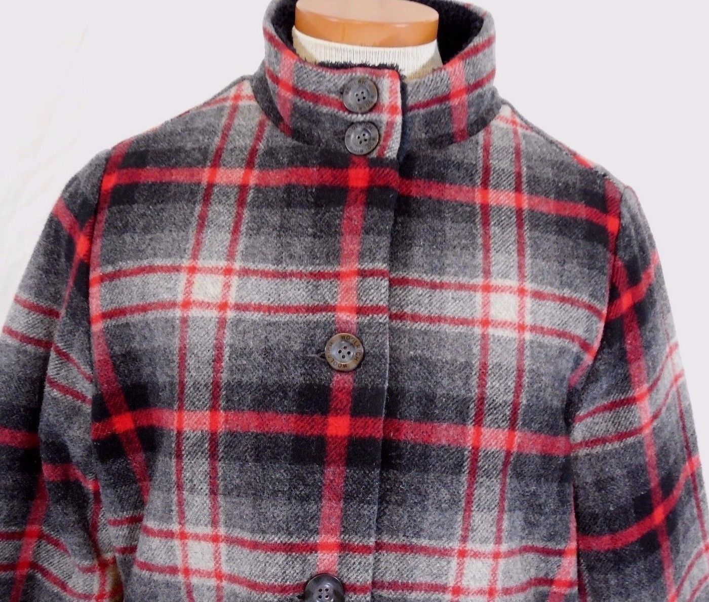 WOOLRICH Womens S/SMALL MAPLE RUN Button UP WOOL Quilt Lined BLACK PLAID Jacket image 3