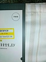 TWIN Sized 400 TC Striped Performance Sheet Set White Beige Threshold Sealed. image 2