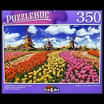 350 Piece Jigsaw Puzzle 18 x 11 - Dutch Windmills & Tulips, Zaanse Nethe... - $4.75