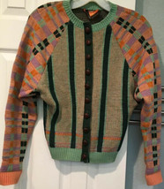 Vintage Betsey Johnson Alley Cat Wool Cardigan Sweater Sz 11/12 Striped ... - $140.24