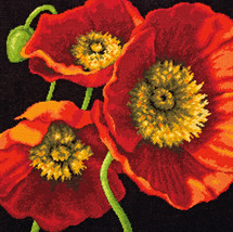 "Dimensions Needlepoint Kit 14""X14"" Red Poppy Trio Stitched In Wool & Thread - $37.69"