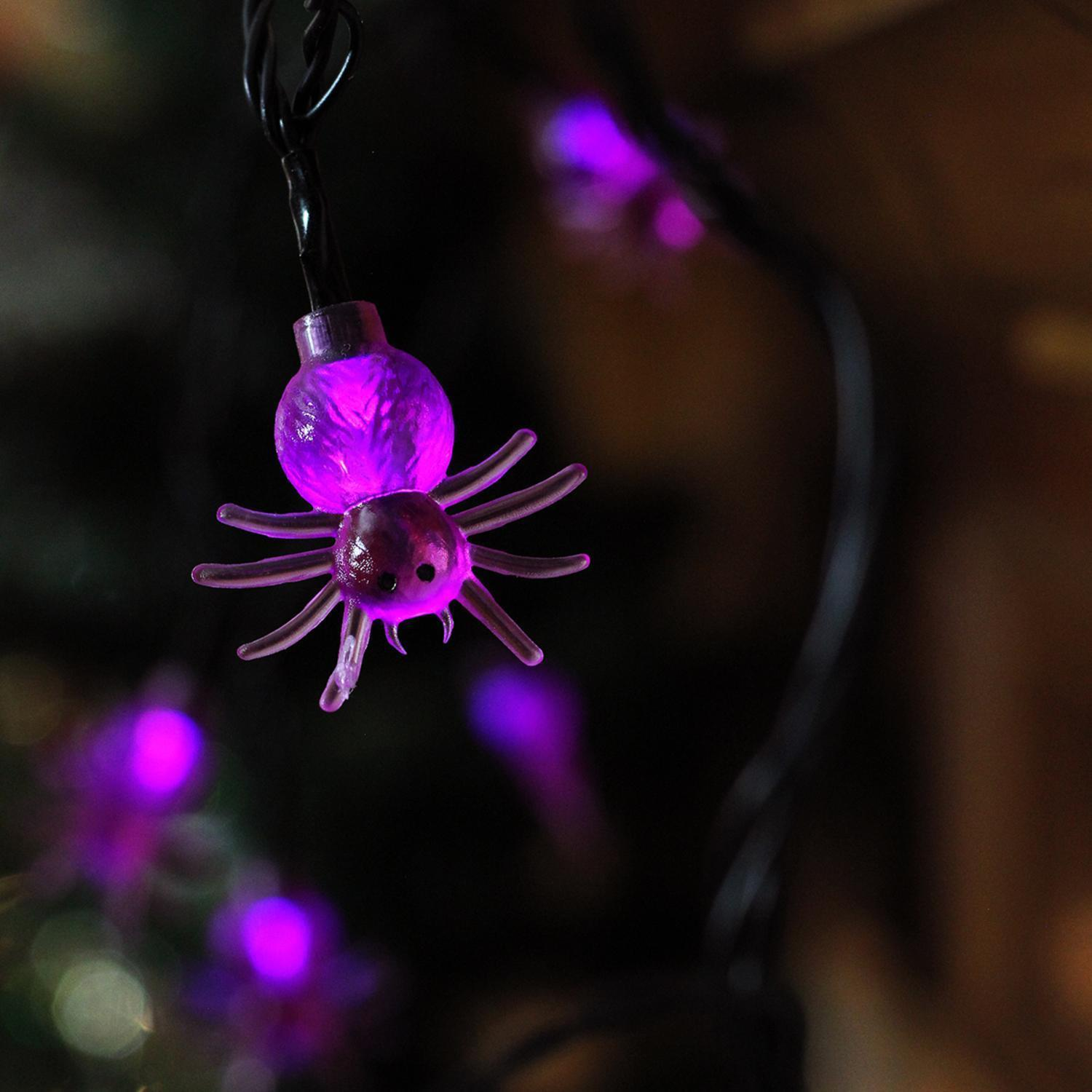 Product Works 10 B/O Purple Spider LED Novelty Halloween Lights Black Wire