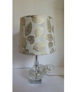 Contemporary Glass Teardrop Accent Table Lamp Gold Leaves Shade - $70.70