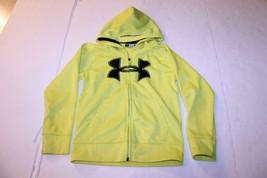 Youth Boys Under Armour Sz 6 Yellow Zip Up Hooded Sweatshirt Hoodie - $12.19