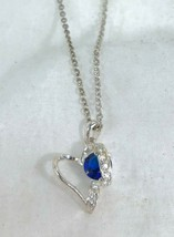 Looping Open Heart Avon Necklace Blue Color Accent September - $9.90