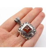 925 Sterling Silver - Vintage Amber Oxidized Swirl Pattern Pendant - P11515 - $43.62