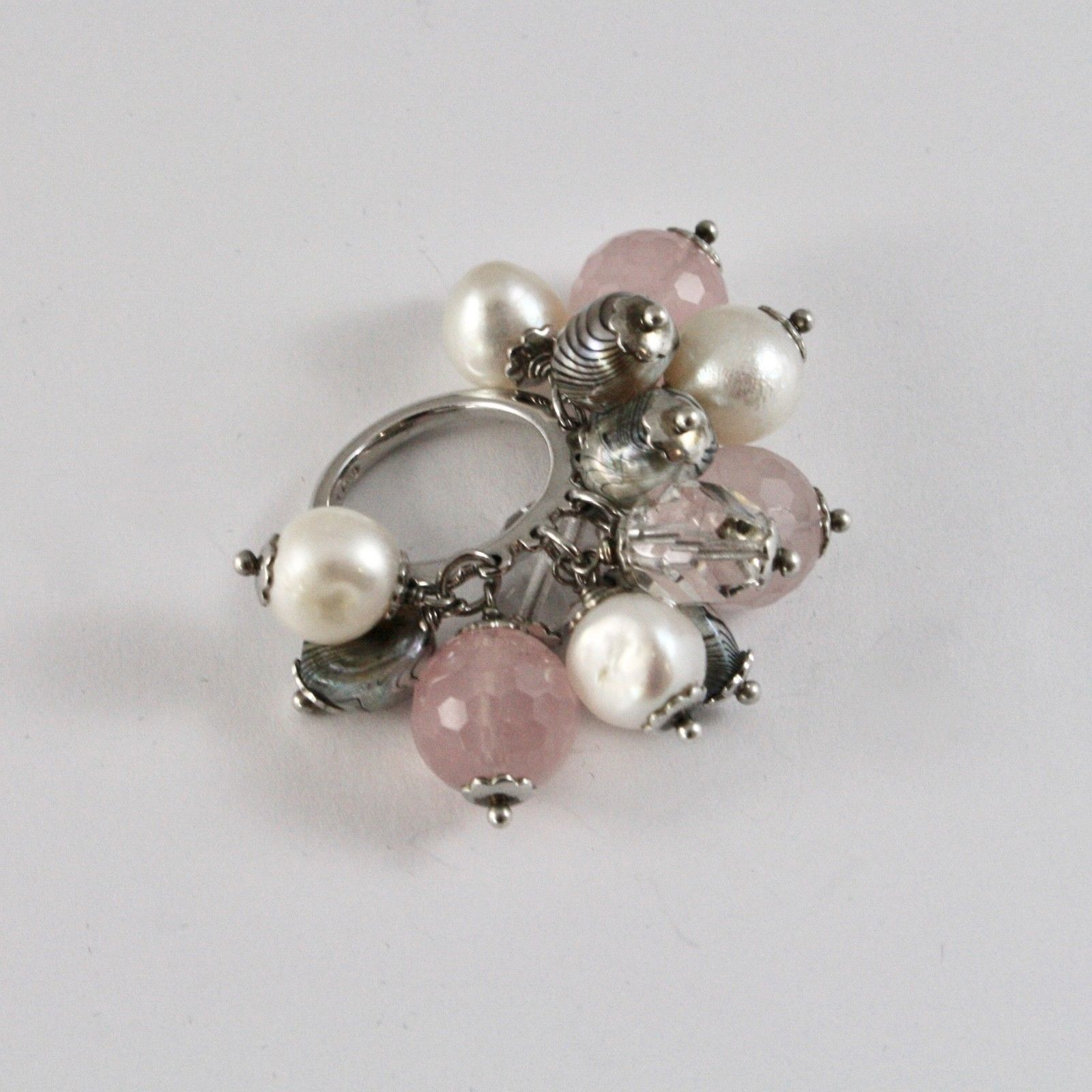 925 SILVER RING CLUSTER MUNITIONS WITH PEARLS BAROQUE STYLE QUARTZ ROSE AND