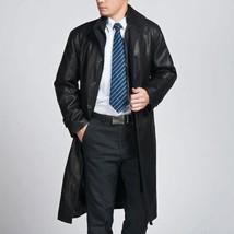 Men Leather Coat Winter Long Leather Coat Genuine Real Leather Trench COAT-UK37 - $214.46