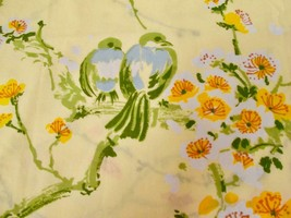 Vintage Springmaid Wondercale Sheet Yellow with Love Birds Floral Branches - $19.99