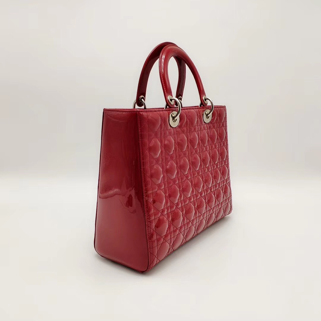 AUTH Christian Dior Lady Dior Large Red Patent Leather Cannage Shoulder Tote Bag