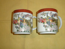 SATSUMA PEACOCK TEA COFFEE CUPS 2 JAPAN SIGNED GOLD TONED - $13.99