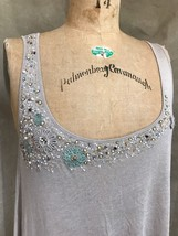 DELETTA Anthropologie Tan SHIMMERY GLITTERY Tank Top Embroidered BEADED ... - $43.48