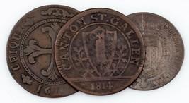 1791-1814 Suizo Cantons Moneda Lote (3pcs) 4 Kreuzer a 1 Batzen (MB) - $69.58