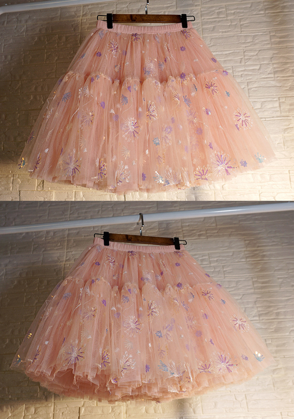 Blush Tiered Tulle Skirt A-line Puffy Skirt Plus Size Knee Length