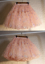 Blush Tiered Tulle Skirt A-line Puffy Skirt Plus Size Knee Length image 1