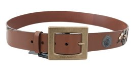 Brown Leather Sicilian Western Wide Belt - $214.20