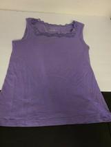 Christopher & Banks Purple Sleeveless Tank Top U-neck Lace Women's Size ... - $30.62
