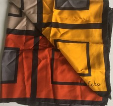 "Vintage Echo Women's Scarf 30"" Sq. Geometric Color Blocks - $18.90"