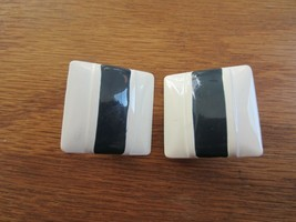Vintage Retro Black White Striped Square Metal Clip On Earrings - $9.74