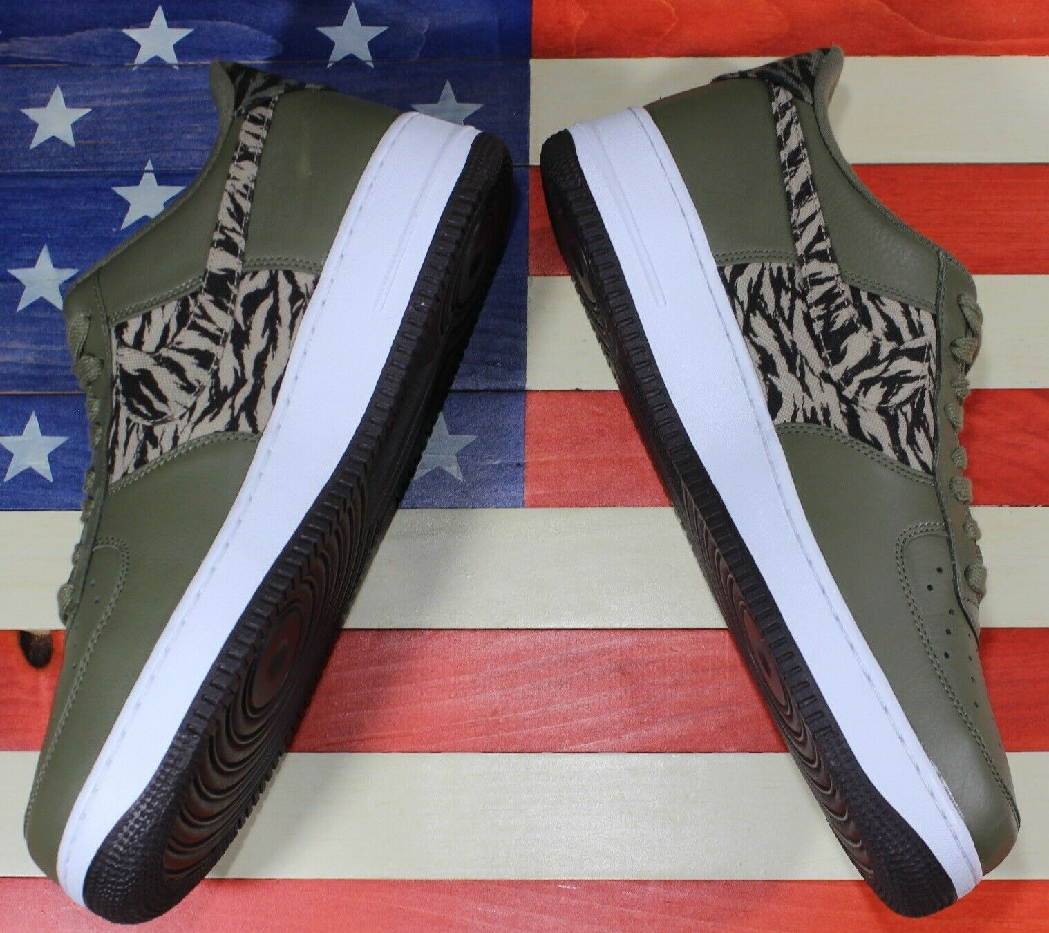 Nike Air Force 1 One Low AOP Basketball Shoes Olive-Green/White [AQ4131-200]- 13 image 8