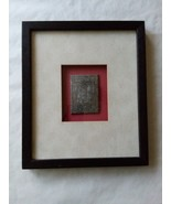 Framed Metal Medallion of Asian Robe Wall Hanging Matted Red Silver Tone - $22.27