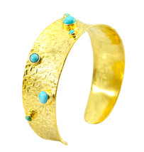 ideal Turquoise Gold Plated Multi Bangle genuine general US gift - $20.68