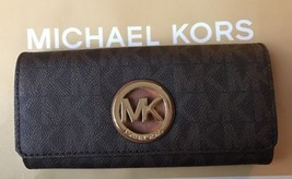 NWT Michael Kors Brown PVC Fulton Flap Continental MK Signature Wallet P... - $85.13
