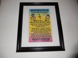 """Large Framed Woodstock 1969 Hendrix Janis Joplin Handbill Poster 24"""" by 20"""" - $43.64"""