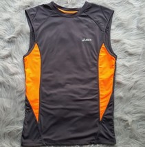 Asics Womens Sz Medium Gray and Neon Orange Athletic Tank Top EUC Mesh Venting - $8.59
