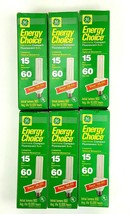 6 PC GE Energy Choice Compact Fluorescent Bulbs 15 Watt Replacement NEW - $23.36