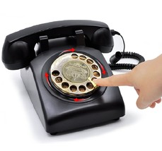 Black Retro Rotary Dial Phone Vintage Desk Telephone Corded Old Fashione... - $64.99