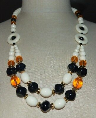 Primary image for TRIFARI TM White Topaz Black Acrylic Bead Beaded Statement Necklace Vintage