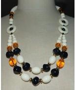 TRIFARI TM White Topaz Black Acrylic Bead Beaded Statement Necklace Vintage - $49.50
