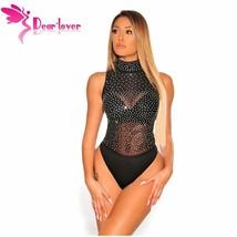 Dear Lover Sleeveless Bodysuits Women Sexy Romper Black Sheer Mesh Silver - $27.90