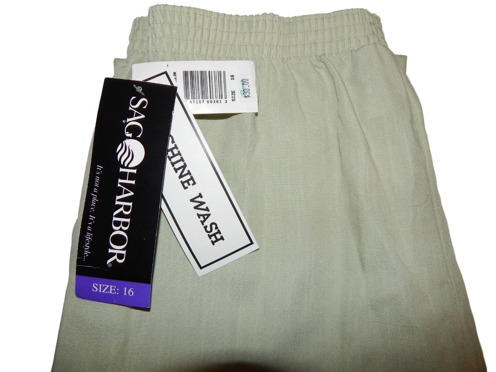 Sag Harbor Womens Stretch Pants Size 16 New 32 - 40 x 30 $30 Beige
