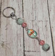 Dragonfly Rose Quartz Aqua Cracked Glass Beaded Handmade Keychain Split ... - $16.48