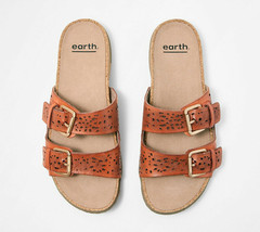 Earth Perforated Leather Slide Sandals- Sand Antigua Sun Orange 9 M - $69.29