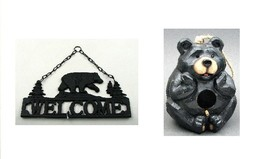 Adorable Bear Bird House and Decorative Welcome Plaque Gift Combo - $49.17