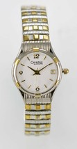Caravelle Watch Womens White Date Stainless Silver Gold Stretch Water Re... - $33.33