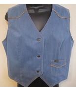 Vintage Lee Denim Vest jean one pocket size med?  made in USA tan piping... - $29.65