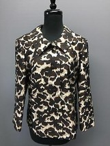 TALBOTS Brown Silk Floral Pattern Casual Button Long Sleeve Jacket Sz 10... - $30.76