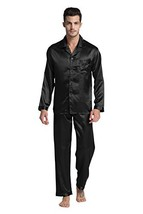 Tony & Candice Men's Classic Satin Pajama Set Sleepwear Large, Black - $31.54