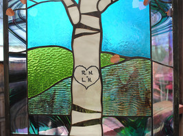 Stained Glass Window Panel birch tree initials wedding anniversary - $147.00