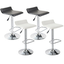 Set of 2 Barstool Curved Seat Artificial Leather Adjustable Swivel White... - $60.99